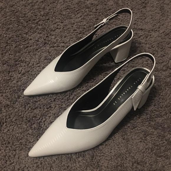 Zara Shoes - White pointy toed sling backs